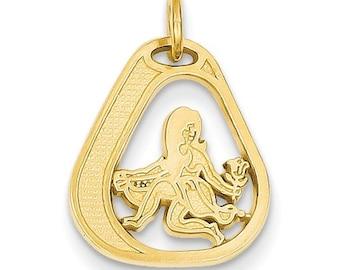 14K Yellow Gold Virgo Zodiac Horoscope Bracelet or Necklace Pendant Charm LKQC1124