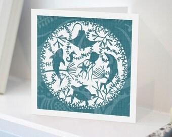 Under The Sea CARD | Sealife | Ocean | Stingray | Turtle | Starfish | Jellyfish | Seahorse | Seaweed | Papercut