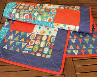 Gone Camping Modern Patchwork Baby Quilt: blue, red, aqua and cream quilted cotton blanket