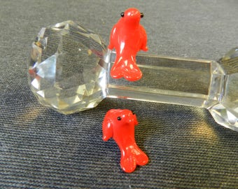 Pair Opaque Chinese Red Sitting Bird Lampwork Glass Bead - 10mm - Handmade - Parrot, Chicken, Dolphin