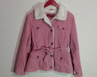 80s. Corduroy Jacket Womens Pink Jacket, Size Small