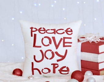 30% OFF Christmas Pillow Peace Joy Hope Love Christmas Decoration,Cottage Decor,Home Decor,Christmas Gift Decorative Pillow