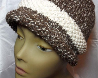 Hand Knit Tweed Cloche Hat