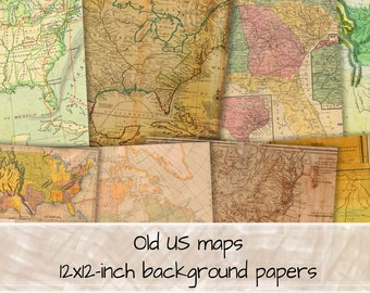 US Maps 12x12 sheets digital background papers instant download 0309
