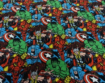 100x140cm Avengers Superhero Hulk Captain America Spiderman Iron Man Cotton Knit Marvel Comics Fabrics