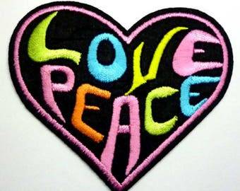 Love & Peace Heart Fabric Patches