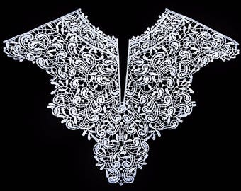 White Lace Collar Applique Fabric Patches - More Colours