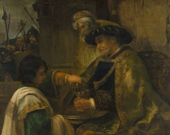 Rembrandt: Pilate Washing his Hands. Fine Art Print/Poster. (004306)