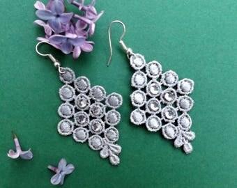"""Silver chandelier lace Earrings """"Frozen"""" - boho earrings - unique jewelry - gift for her"""