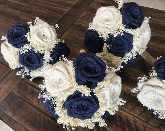 Burlap Bridesmaids Bouquet in Navy & Ivory : Burlap Bouquets, Burlap Wedding Bouquets, Rustic Bouquets, Burlap Bridesmaids Bouquets