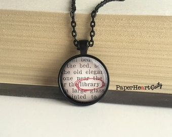Librarian Necklace - Librarian - Black - Librarian Jewelry - Book Lover Jewelry - Librarian Gift - Book Lover - Bibliophile - (B9625)