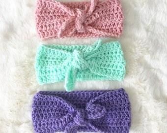 Crochet Headband, Top Knot Headband, Turban Headband, Spring Headband, Top Knot, Top Knotted Headband, Baby Shower gift,Spring Baby Headband