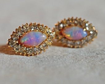 Vintage Earrings - Vargas, Faux Fire Opal with Clear Rhinestones, 12K Gold Filled, 1947