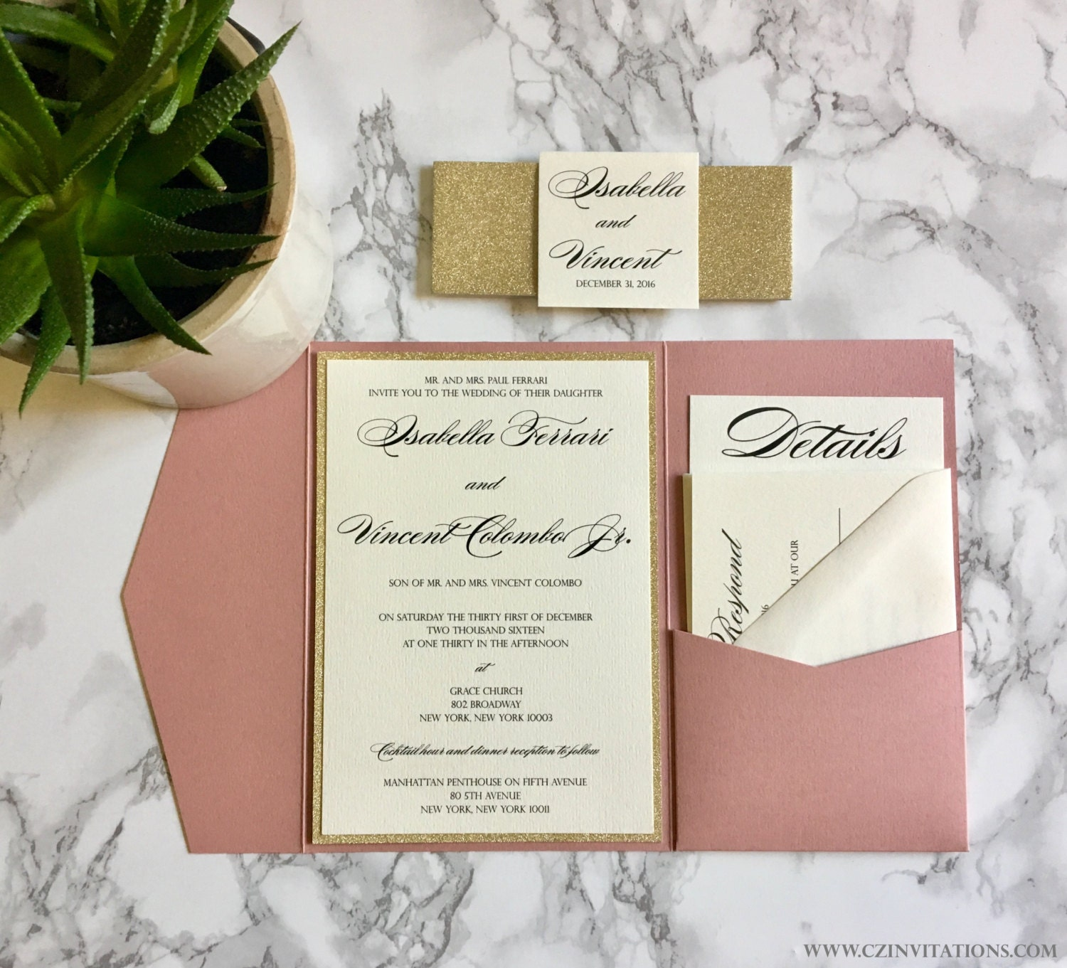 Dusty Pink And Gold Glitter Pocket Wedding Invitations With Glitter Belly  Band, Pink Glitter Wedding Invitation, Gold And Pink Invitations