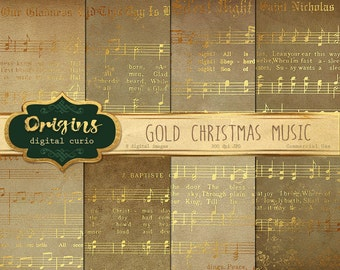 Golden Christmas Sheet Music Digital Paper, Scrapbook Paper, Vintage Sheet Music, Decoupage, Printable Christmas Carols, Songs and Hymns
