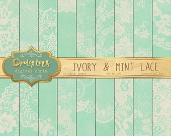 Ivory and Mint Lace Digital Paper, vintage shabby chic printable scrapbook paper, lace backgrounds, rustic scrapbooking, green and beige