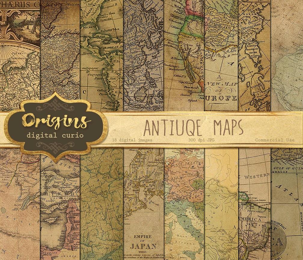 Antique Maps Digital Paper Vintage Maps World Map Scrapbook