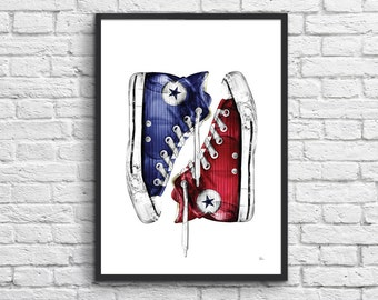 Art-Poster 50 x 70 cm - Converse Sneakers Pop-Art Tribute