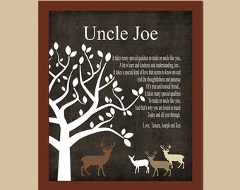 UNCLE Gift - Rustic Deer Gift - Gift from Bride and Groom on Wedding Day - Wedding Thank You Gift - Birthday Gift, CANVAS or Prints