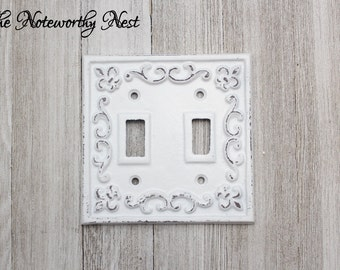 ANY COLOR Double Light Switch Cover // Switch Plate // White Switch Plate // cast iron light covers // Fleur De Lis Light Switch Cover
