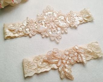 Wedding Garter , Tossing Garter,Keepsake Garter,bridal garter,champagne lace garter, C07#