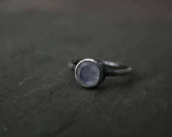 circular faceted moonstone ring in darkened sterling silver