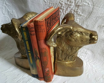 Vintage BRASS RAMS bookends