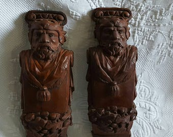Vintage hand carved wood TRIBAL MAN with Lion head