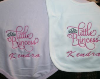 Little Princess Personalized Infant Toddler Baby Blanket & Bib Set  Any color