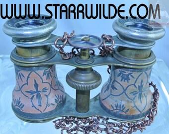 STARR WILDE Steampunk BINOCULARS Opera Glasses Vintage Orange Brass Gears Copper Chain Cyberpunk Dieselpunk Industrial Cosplay Costume