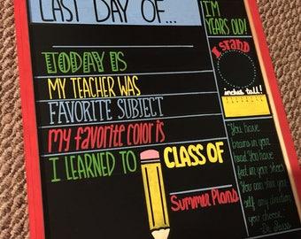SALE TODAY ONLY! Last Day of School Chalkboard