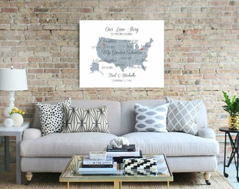 50th Wedding Anniversary Gift Where Our Love Has Traveled Wall Art Us Map Anniversary Canvas Print Gift For Parents Gift For Husband - 38477