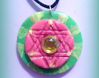 Polymer Star of David Pendant, Hexagram Pendant- Green, Pink & Yellow, with Sunny Gem at Center - polymer clay pendant