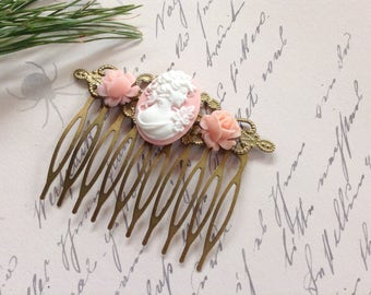 White And Pink Cameo And Roses Hair Comb