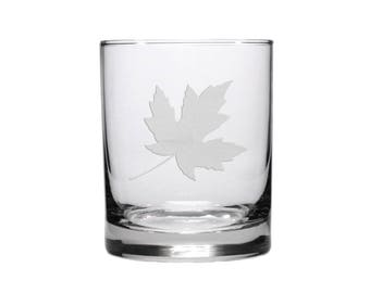 Maple Leaf Whisky Glass / #4 / Free Personalization / Etched 12.5 oz Maple Leaf Whisky Glass / Personalized Gift / Personalized Glass