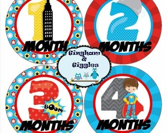 Monthly Baby Milestone Superhero Stickers Baby Shower Gift. Milestone stickers, monthly stickers, superhero stickers, boy monthly stickers