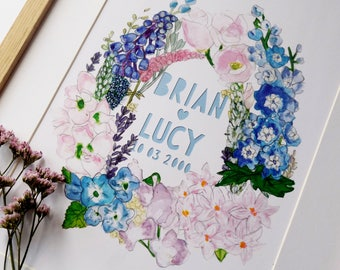 Wild Flowers Print, Custom Wedding Print, Wild Flowers Wedding, Personalised wild florals, Wild Wedding Flowers, Illustrated flowers print