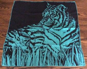 Vintage Vera Tiger Scarf in Teal and Black