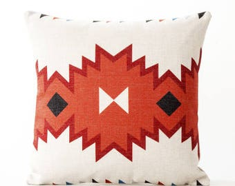 Decorative  Pillow cover, Aztec Geometric printed cotton linen cushion cover/throw pillow cushion shell customized