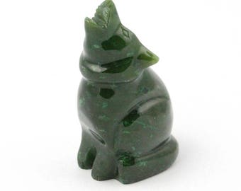 Canadian Nephrite Jade Wolf Carving (multiple sizes available)