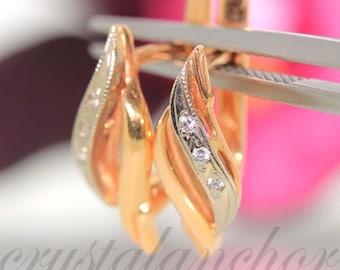 Estate 14k Rose gold Natural round Diamond huggie clip fancy earrings