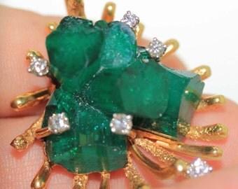 Rare Estate 18k gold 60ct Emerald & VS-1 Diamond Pendant Charm Slide 60.50ctw