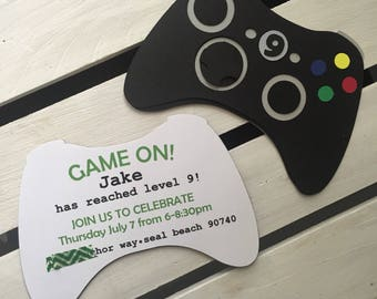 Xbox Inspired Video Game Controller Invitation