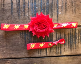 Gold Metallic Hearts on Red Elastic Headband, Valentines Day, Sweetheart Headband, Little girl hair accessories