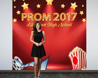 Prom Personalized Photo Backdrop - Movie Theme Birthday Photo Backdrop - Hollywood Photo Booth Backdrop, Prom 2017 Photo Backdrop