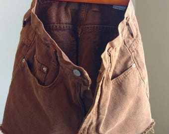 Vintage/ Chocolate Brown Denim Cut Off Shorts