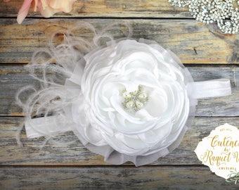 Pure White Headband - Baptism Headband - Flower Girl Headband - Wedding Headband - Party Headband - White Headband - Special Occassion