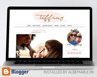 Premade Blogger Template, Mobile Responsive, Gold Glitter Fashion Blogger Template with Watercolor - Tiffany