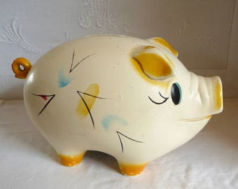 "1950s Ellgreave Pottery Pig Money Bank 19cms x 13 cms x 11cms or 7 1/2"" x 5"" x 4 1/4"""