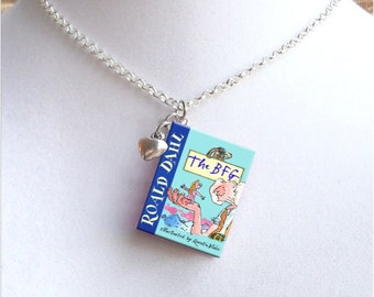 The BFG with Tiny Heart Charm - Miniature Book Necklace